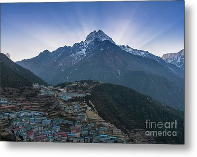 Metal Print featuring the photograph Namche And Thamserku Peak Morning Sunrays by Mike Reid