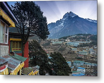 Metal Print featuring the photograph Namche Monastery Morning Sunrays by Mike Reid