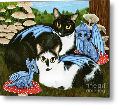 Metal Print featuring the painting Nami And Rookia's Dragons - Tuxedo Cats by Carrie Hawks