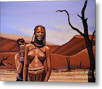 Himba Girls Of Namibia Metal Print by Paul Meijering