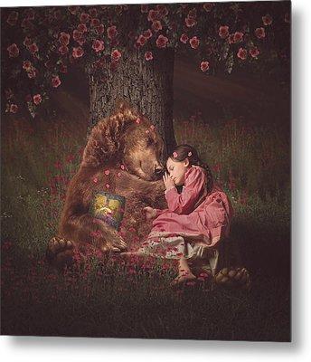 Nap Time With Papa Bear Metal Print by Kristen Marie