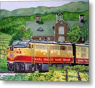 Metal Print featuring the painting Napa Wine Train by Gail Chandler