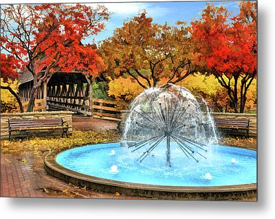 Naperville Dandelion Fountain Metal Print by Christopher Arndt