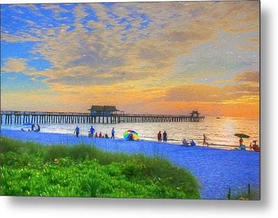 Metal Print featuring the digital art Naples Beach by Sharon Batdorf