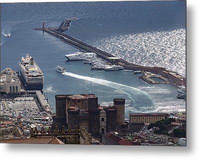 Naples Distinctive Harbor In Silver And Blue - Castles And Cruise Ships From Above Metal Print