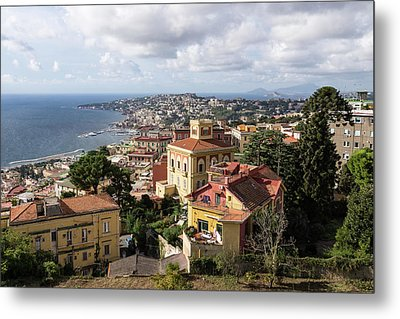 Naples Italy Aerial Perspective - Chiaia And Mergellina Seafront Neighborhoods Metal Print