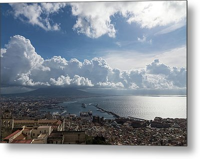 Naples Italy Aerial Perspective - Dramatic Clouds Over The Harbor Metal Print