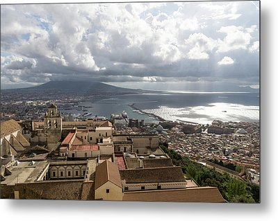 Naples Italy Aerial Perspective - God Rays Clouds And Vistas Metal Print