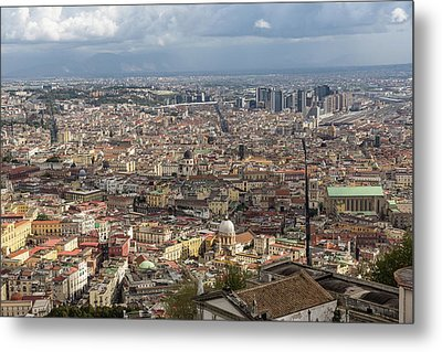 Naples Italy Aerial Perspective - Spaccanapoli Downtown And The Fabulous Clay Tile Rooftops Metal Print