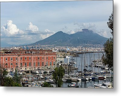Naples Italy Aerial Perspective - The Harbor And Mount Vesuvius Metal Print