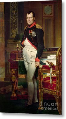 Napoleon Bonaparte In His Study At The Tuileries, 1812 Metal Print by Jacques Louis David