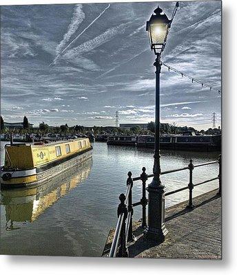 Narrowboat Idly Dan At Barton Marina On Metal Print