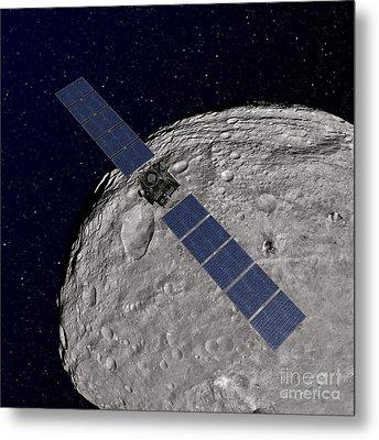 Nasas Dawn Spacecraft Orbiting Metal Print by Stocktrek Images