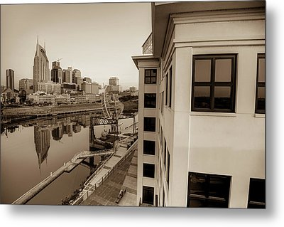 Nashville Along The River - Sepia Edition Metal Print