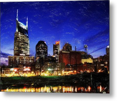 Nashville At Twilight Metal Print by Dean Wittle