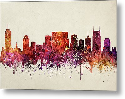 Nashville Cityscape 09 Metal Print by Aged Pixel