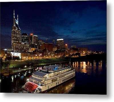 Nashville Skyline And Riverboat Metal Print by Mark Currier