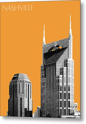 Nashville Skyline At And T Batman Building - Orange Metal Print