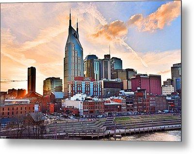 Nashville Skyline At Sunset Metal Print