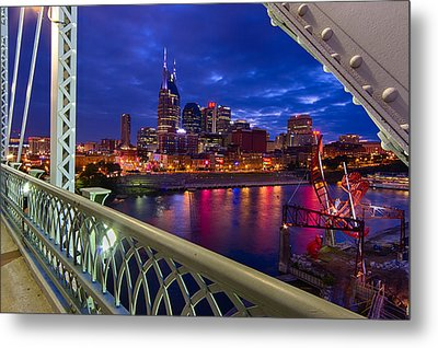 Nashville Skyline From Shelby Bridge Metal Print