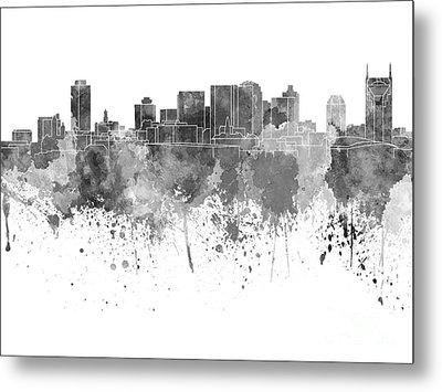 Nashville Skyline In Black Watercolor On White Background Metal Print by Pablo Romero