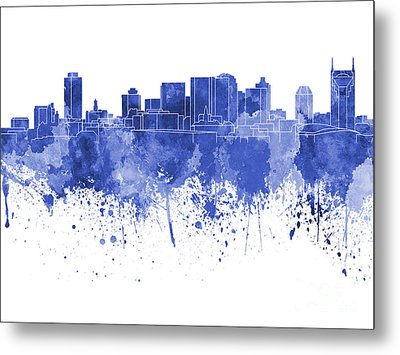Nashville Skyline In Blue Watercolor On White Background Metal Print by Pablo Romero