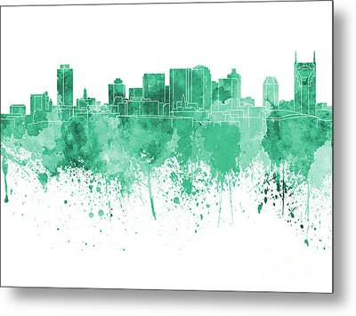 Nashville Skyline In Green Watercolor On White Background Metal Print by Pablo Romero