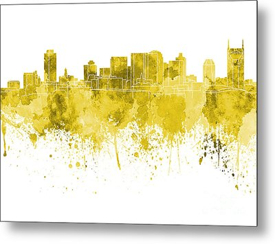 Nashville Skyline In Pink Watercolor On White Background Metal Print by Pablo Romero