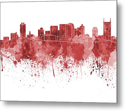 Nashville Skyline In Red Watercolor On White Background Metal Print by Pablo Romero