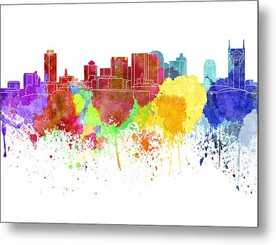 Nashville Skyline In Watercolor On White Background Metal Print by Pablo Romero