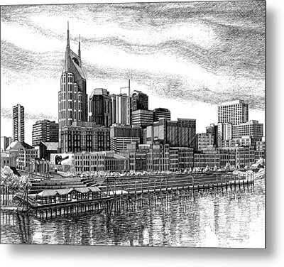 Nashville Skyline Ink Drawing Metal Print by Janet King