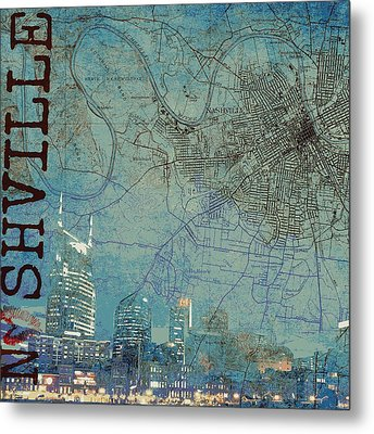 Nashville Skyline Map Metal Print by Brandi Fitzgerald
