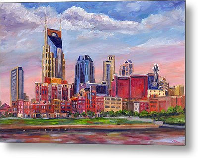 Nashville Skyline Painting Metal Print