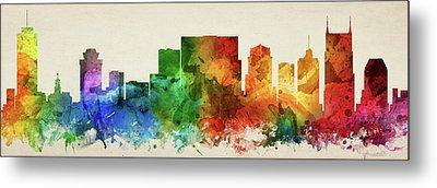 Nashville Skyline Panorama Ustnna-pa03 Metal Print by Aged Pixel