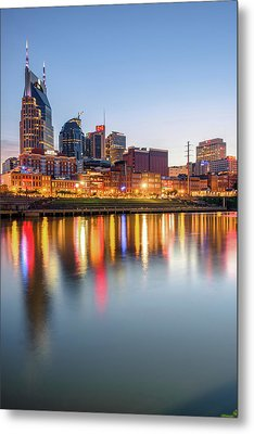 Metal Print featuring the photograph Nashville Skyline Reflections - Color Edition by Gregory Ballos