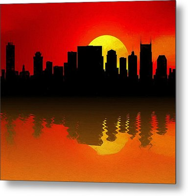 Nashville Skyline Sunset Reflection Metal Print