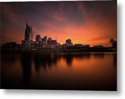 Nashville Sunset Over A Silky Skyline Reflection Metal Print