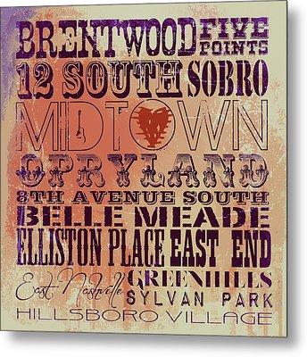 Nashville Tn V3 Metal Print by Brandi Fitzgerald