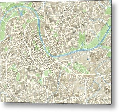 Nashville Tn Watercolor Map Metal Print