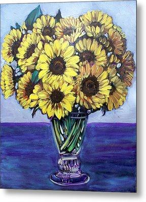 Natasha's Sunflowers Metal Print by Sheila Tajima
