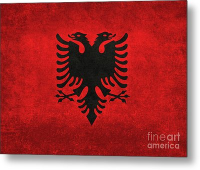 Metal Print featuring the digital art National Flag Of Albania With Distressed Vintage Treatment  by Bruce Stanfield