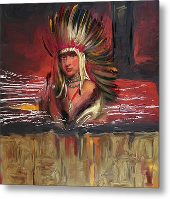 Native American 277 1  Metal Print by Mawra Tahreem