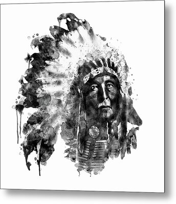 Metal Print featuring the mixed media Native American Chief Black And White by Marian Voicu