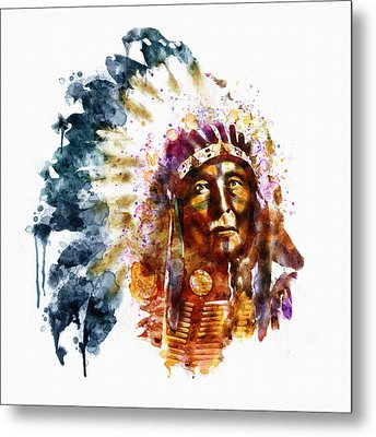 Native American Chief Metal Print by Marian Voicu