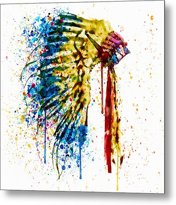 Native American Feather Headdress   Metal Print