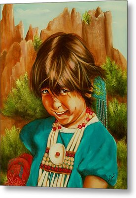 Metal Print featuring the painting Native American Girl by Joni McPherson