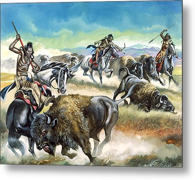 Native American Indians Killing American Bison Metal Print by Ron Embleton