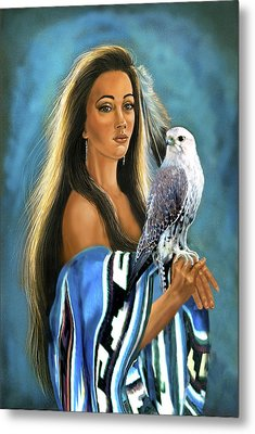 Native American Maiden With Falcon Metal Print by Regina Femrite