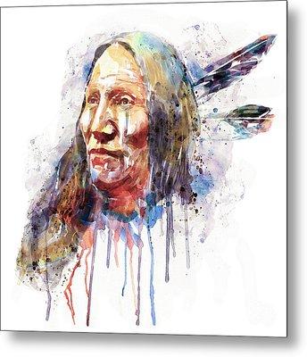Native American Portrait Metal Print