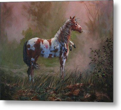 Native American War Pony Metal Print by Tom Shropshire